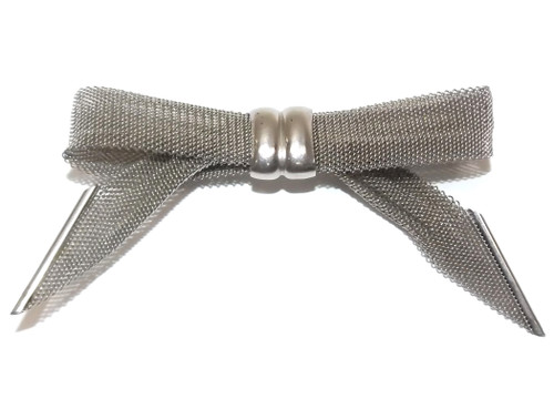 Vintage Silver Tone Mesh Bow Tie Shaped Brooch Knot Pin