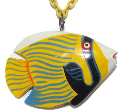 Wooden Painted Tropical Fish Pendant on Bright Yellow Necklace Chain with Beads