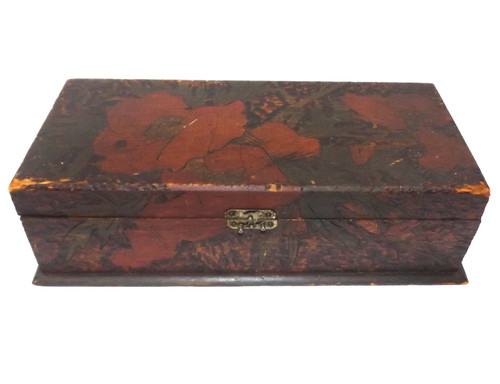 Antique Handmade Flemish Art Wooden Pyrography Trinket Jewelry Box Hand-Painted