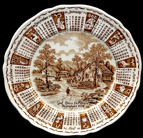 1974 Vintage Alfred Meakin Staffordshire God Bless Our House Calendar Plate