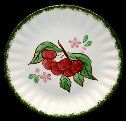 Vintage Hand-Painted Blue Ridge Pottery Country Fair Green Salad Plate Cherries