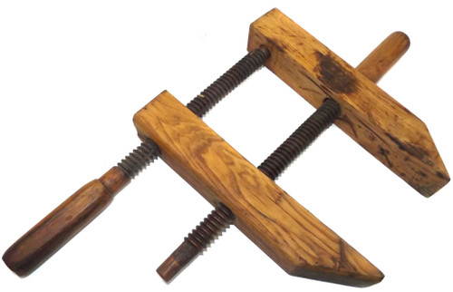 "Antique Wooden Hand Screw Wood Clamp Tool Woodworking Vise - 12"" Arms"