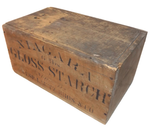 Antique Niagara Gloss Starch Stencilled Wooden Advertising Crate - Buffalo, NY