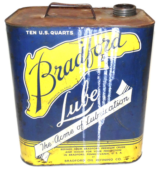 Rare Bradford Lube 2.5 Gallon Metal Oil Can - Bradford Oil Refining Co.