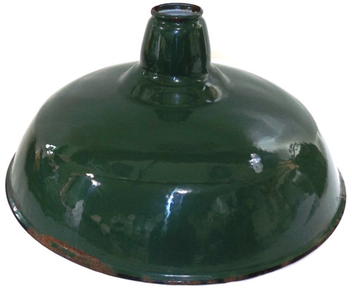 Vintage Mid-Century Green Porcelain Enamel Gas Station Light Industrial Barn Lamp Fixture Shade