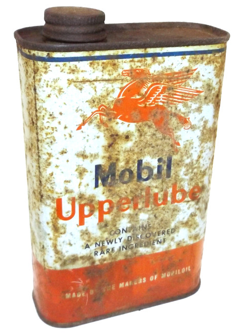 Vintage Mobil Upperlube Tin Advertising Oil Can w/ Contents