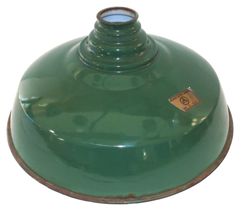 Vintage NOS Green Porcelain Enamel Light Shade Gas Station Barn Globe