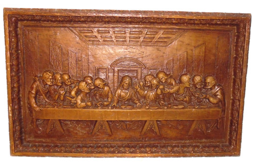 Vintage Syroco Pressed Wood Last Supper Christian Wall Decor Plaque