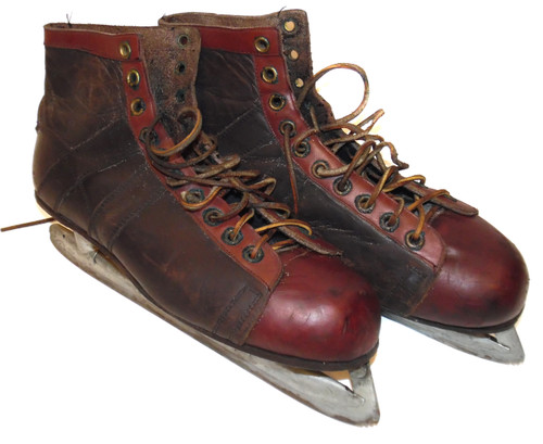 Early Vintage Pair of Hyde Leather Ice Hockey Skates