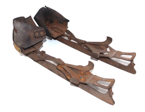 Pair of Antique Shabby Early Ice Skates - Great for Crafting