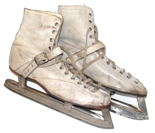 Pair of Vintage White Leather Ice Hockey Skates with Leather Strap