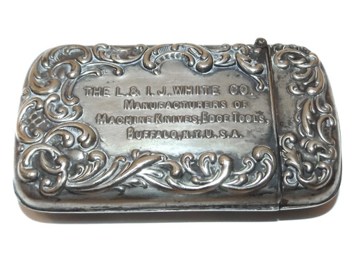 Antique L. & I.J. White Co. Knife Tool Advertising Match Safe - Buffalo, NY Vesta Case