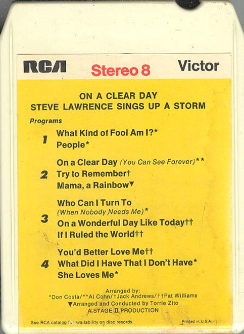 STEVE LAWRENCE: On a Clear Day - Steve Lawrence Sings Up a Storm