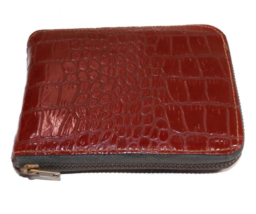Vintage Red Vinyl Faux Snakeskin Leather Zippered Wallet