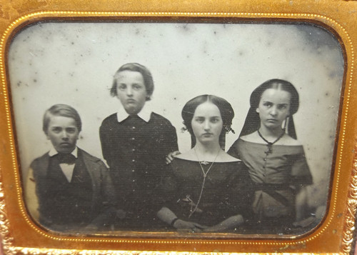 Ambrotype Photograph of Mother and Three Children in Nice Gutta Percha Case