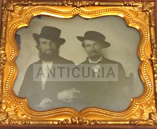 Antique Ambrotype Photograph Man Holding Other Man's Arm Gay Interest