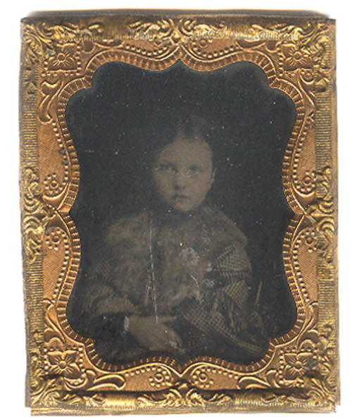Little Victorian Girl in Plaid Dress With Fur Collar Ambrotype Photograph