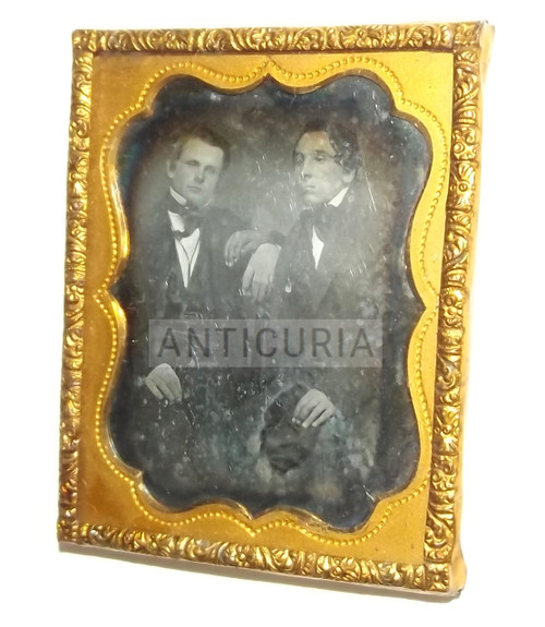 Antique Two Men Together Touching Hands 1/9th Plate Daguerreotype Gay Interest