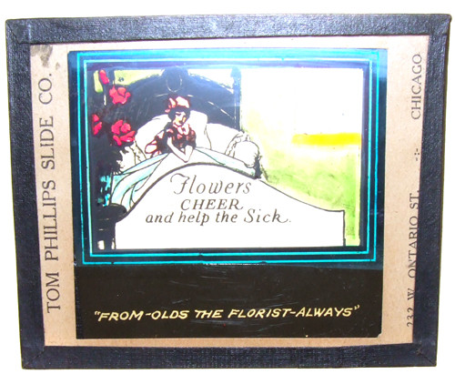 Olds the Florist Flowers Cheer the Sick Advertising Glass Magic Lantern Slide - Chicago