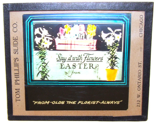 Olds the Florist Say It With Easter Flowers Advertising Glass Magic Lantern Slide - Chicago