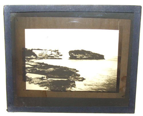 Unnamed Beach With Building on Shore Glass Magic Lantern Slide