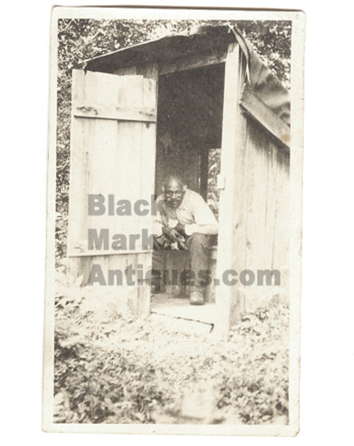 Old Pete Good Black Man in Outhouse Antique B&W Photograph