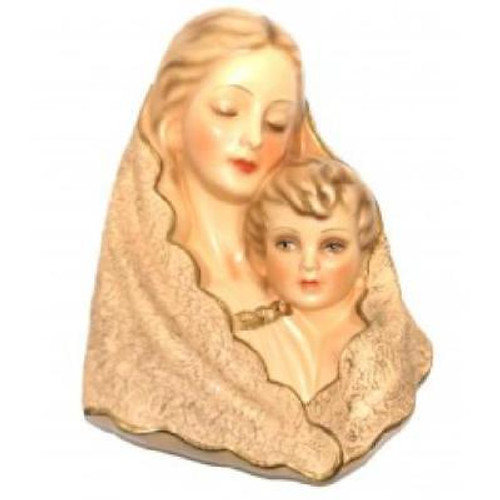 Vintage Madonna and Baby Christ Chalkware Wall Decoration Sculpture Jesus Mary