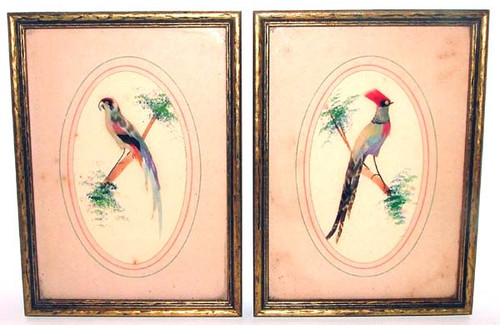 Pair Hand-Painted & Real Feather Birds in Gilded Frames