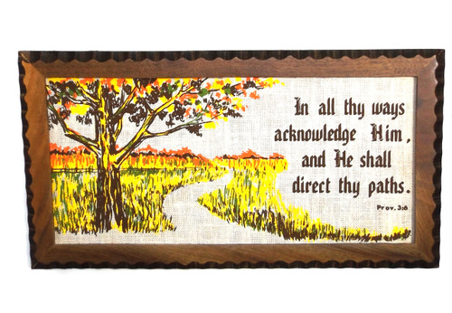 Vintage NOS Wood Framed Retro Religious Proverbs 3:6 Cloth Wall Decoration Christian Motto