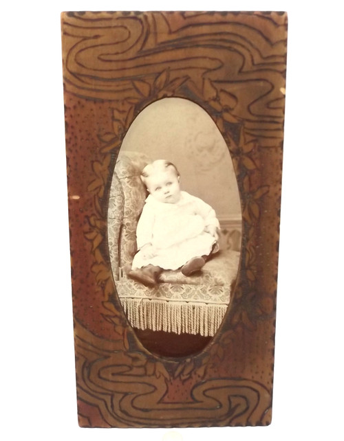 Antique Flemish Art Pyrography Wooden Picture Frame Named Baby Photo - Grace Beeker (Ricketson)