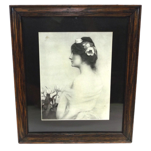 Antique Wooden Oak Picture Frame w/ Lillies Pittsburg Sunday Press Print