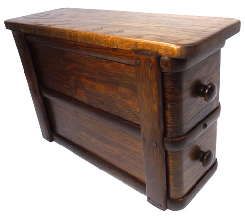 Antique Oak Two Drawer Wooden Sewing Machine Cabinet Stand