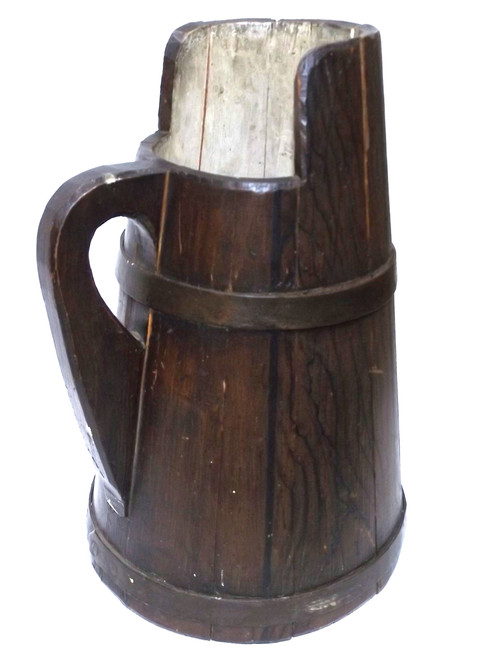 Early Primitive Antique Wooden Ewer Pitcher Staved Jug w/ Brass Hoops