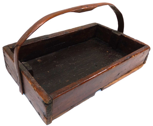 Primitive Antique Handmade Pennsylvania Wooden Berry Tray Box w/ Carved Wood Handle