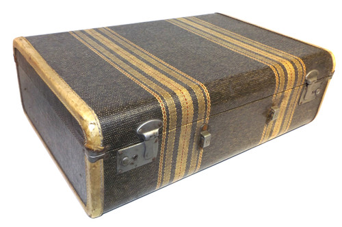 Vintage 1930's Era Striped Polychrome Tweed Suitcase - Great for Luggage Stacks