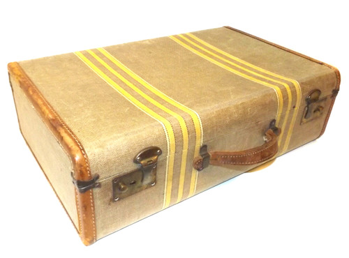 Vintage 1930's Era Striped Tweed Suitcase w/ Leather Trim - Great for Luggage Stacks