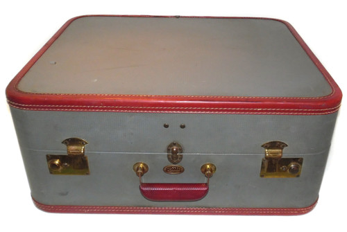 Vintage Thick Gray Kleber Luggage Suitcase with Maroon Trim - Great for Luggage Stacks