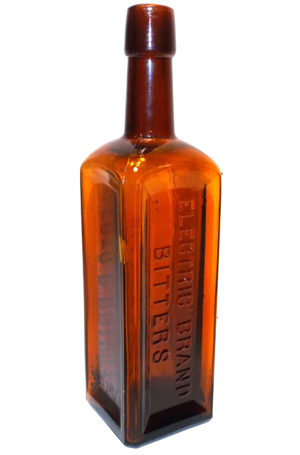 Antique Electric Brand Bitters Amber Glass Medicine Cure Remedy Bottle