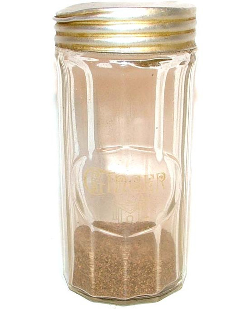 Early Vintage Hoosier Mfg. Co. Glass Ginger Spice Jar With Lid