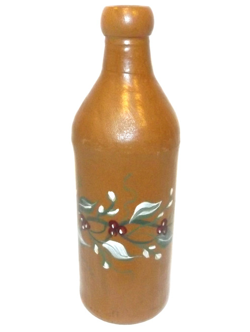 Vintage Stoneware Beer / Wine Bottle with Tole Painted Vine Decoration