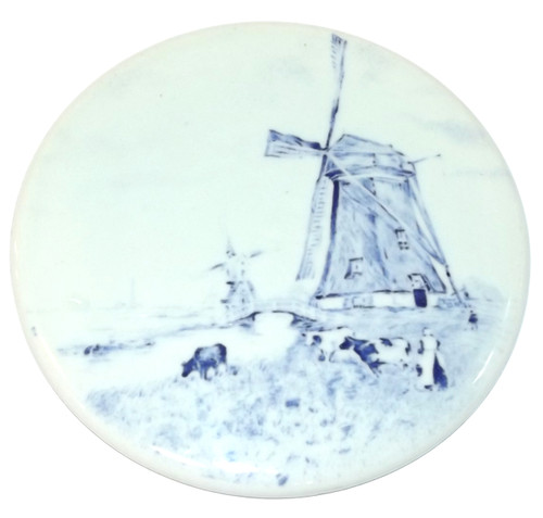 Vintage Round Ceramic Decorative Tile w/ Windmill & Cows Scene