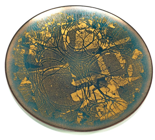 Vintage Mid-Century Modern Abstract Enameled Brass Charger Decorative Plate