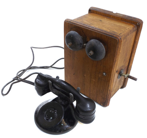 Antique Automatic Electric Monophone & Stromberg Carlson Wooden Telephone Ringer Box