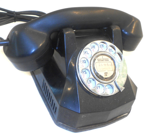 Vintage Automatic Electric AE 40 Art Deco Bakelite Rotary Dial Telephone