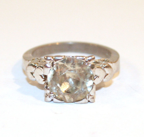 Sterling Silver Vintage Ring with Large Round Cut Glass Stone - Size 5