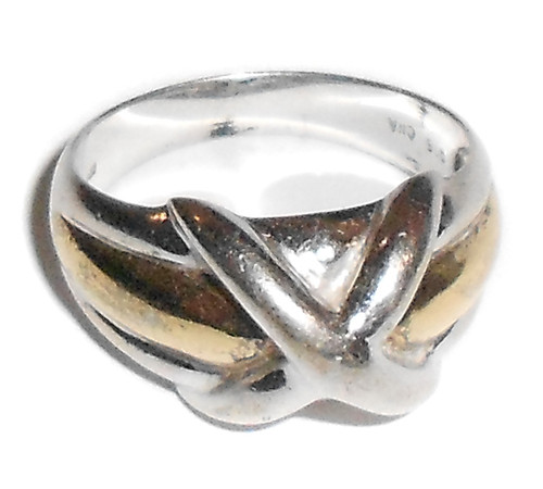 Vintage CNA Sterling Silver Ring with Knot Design - Size 9