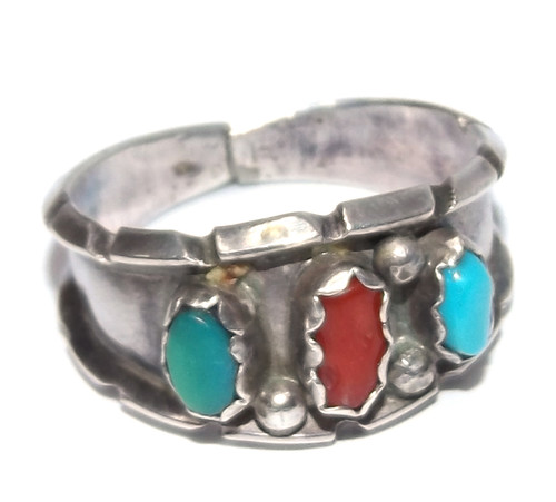 Vintage Signed JB Sterling Silver Native American Turquoise & Coral Ring - Size 14