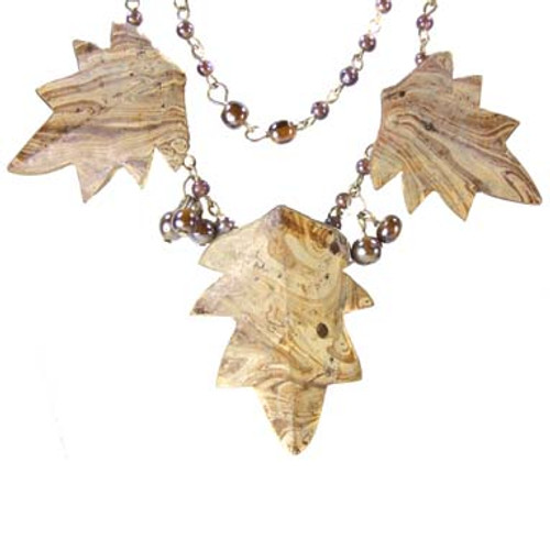 Beautiful Double Strand Leaf and Bead Necklace