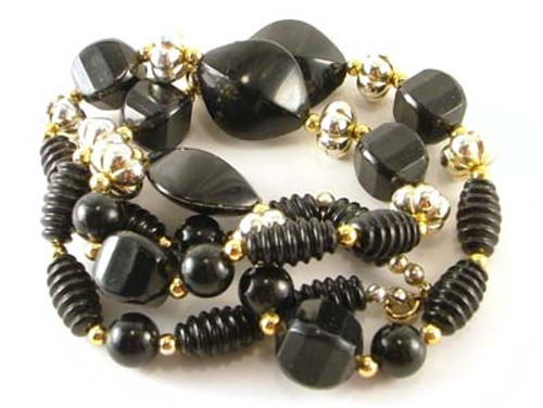 Black Gold & Silver Bead Necklace