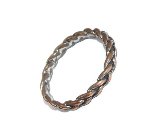 Vintage Braided Copper Wire Style Ring - Size 8 1/4